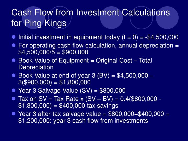 Cash Flow from Investment Calculations for Ping Kings