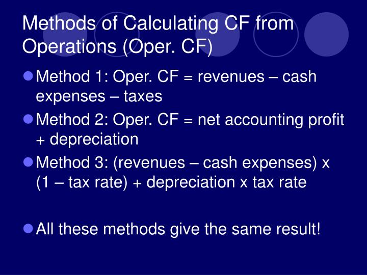 Methods of Calculating CF from Operations (Oper. CF)