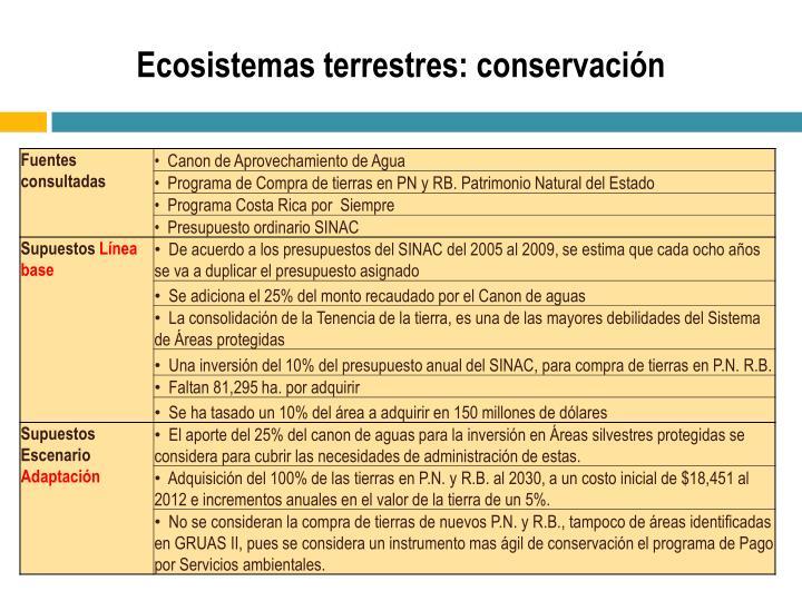 Ecosistemas terrestres: conservación