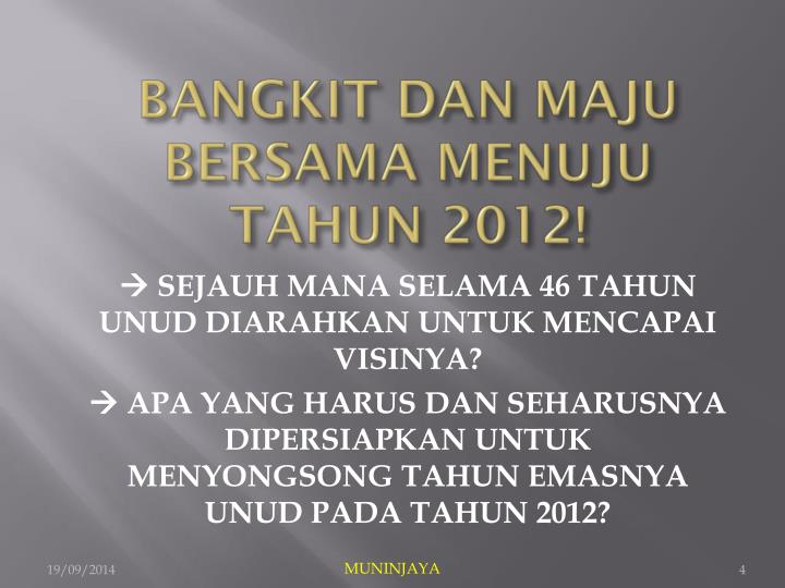 BANGKIT DAN MAJU BERSAMA MENUJU TAHUN 2012!