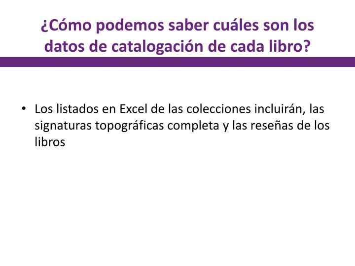 ¿Cómo podemos saber cuáles son los datos de catalogación de cada libro?