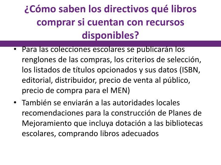 ¿Cómo saben los directivos qué libros comprar si cuentan con recursos disponibles?