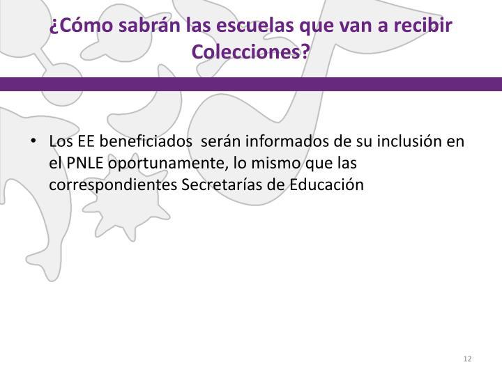 ¿Cómo sabrán las escuelas que van a recibir Colecciones?