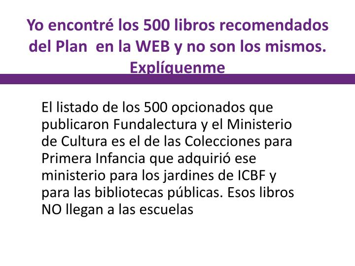 Yo encontré los 500 libros recomendados del Plan  en la WEB y no son los mismos. Explíquenme