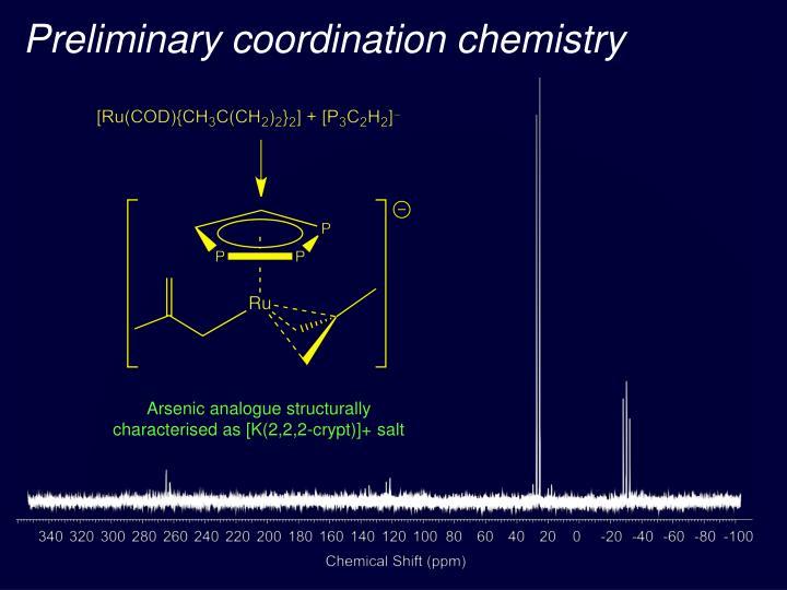 Preliminary coordination chemistry
