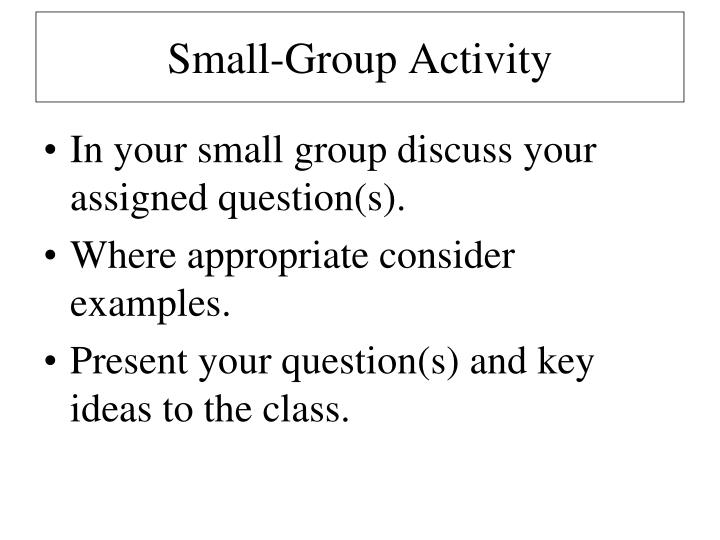 Small-Group Activity