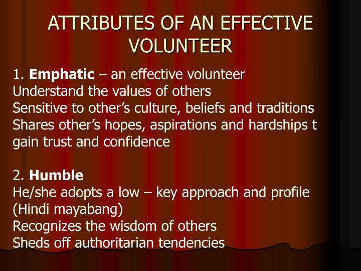 ATTRIBUTES OF AN EFFECTIVE VOLUNTEER