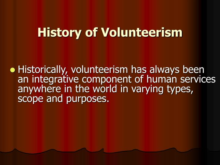 History of Volunteerism