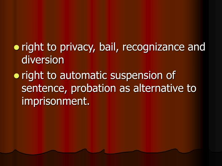 right to privacy, bail, recognizance and diversion
