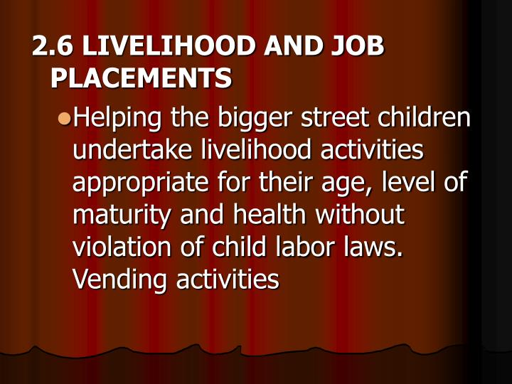 2.6 LIVELIHOOD AND JOB PLACEMENTS