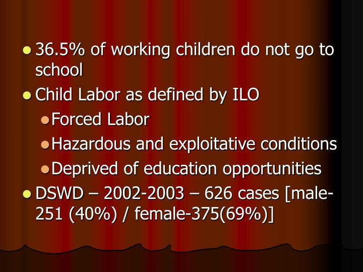 36.5% of working children do not go to school
