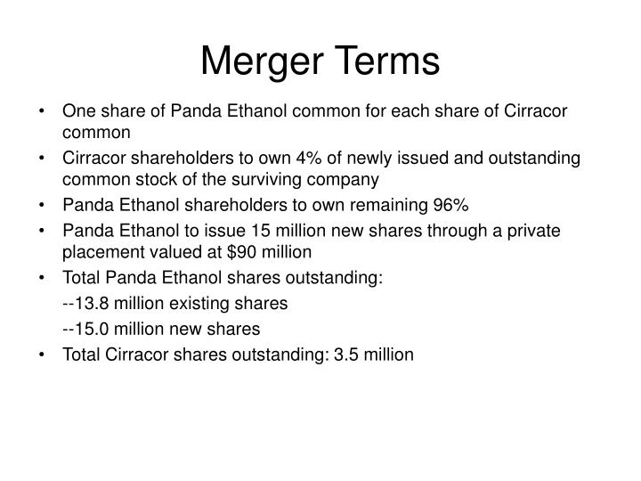 Merger Terms