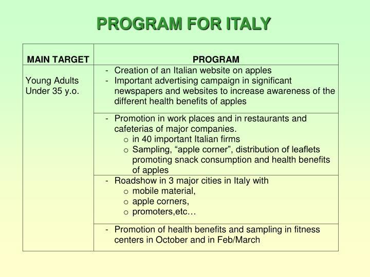 PROGRAM FOR ITALY