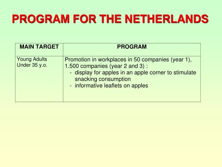 PROGRAM FOR THE NETHERLANDS