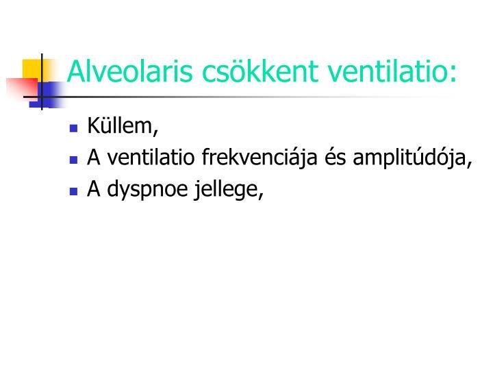 Alveolaris csökkent ventilatio: