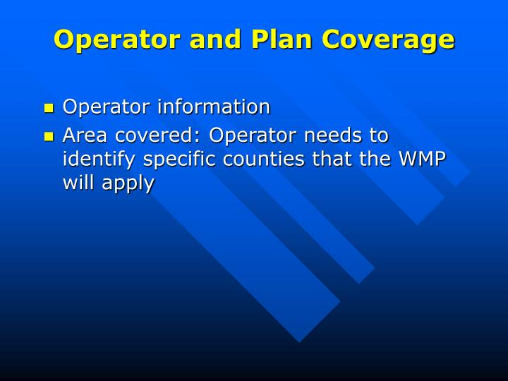 Operator and Plan Coverage