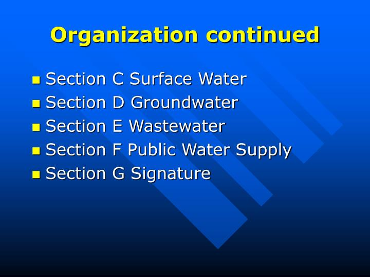 Organization continued