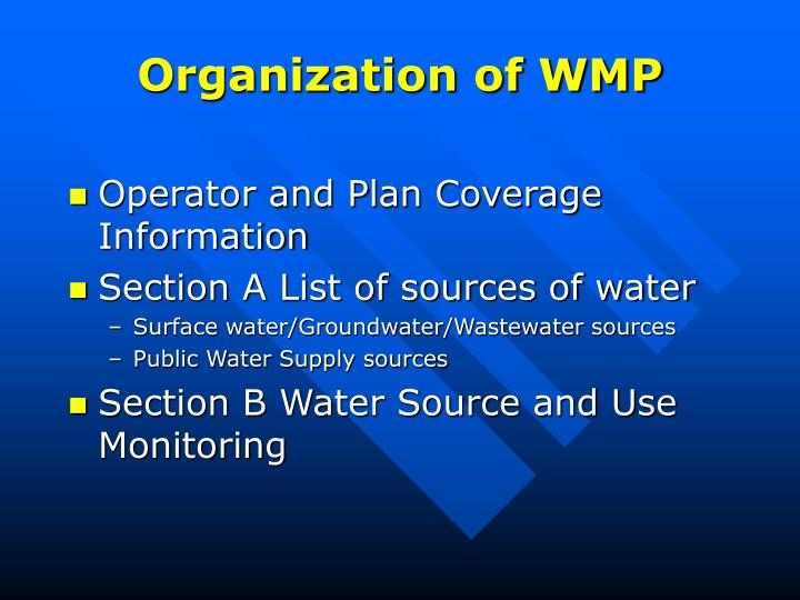 Organization of WMP