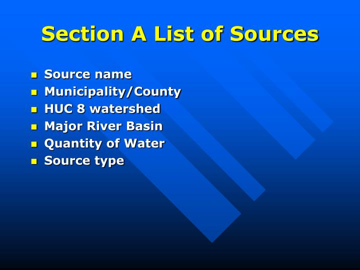 Section A List of Sources