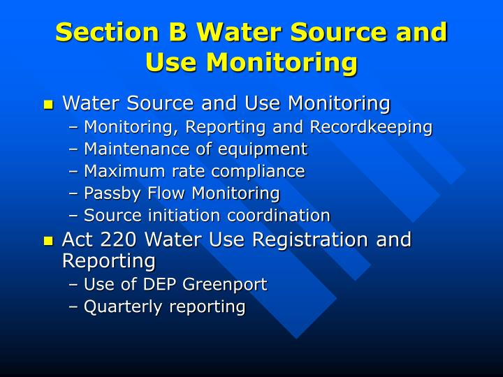 Section B Water Source and Use Monitoring