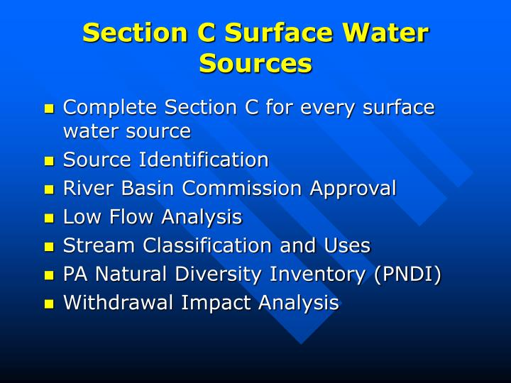 Section C Surface Water Sources