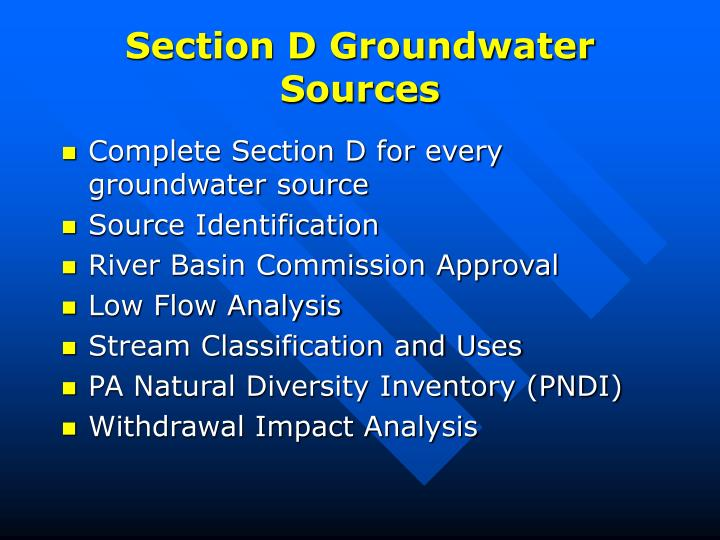 Section D Groundwater Sources