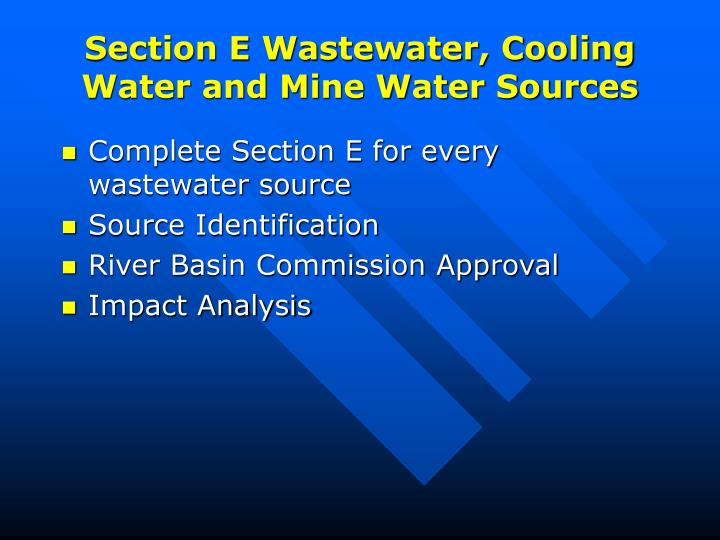 Section E Wastewater, Cooling Water and Mine Water Sources