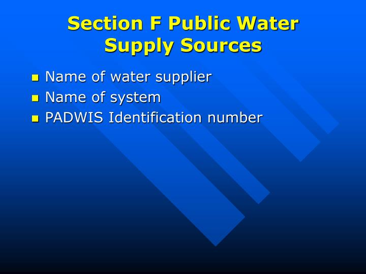 Section F Public Water Supply Sources
