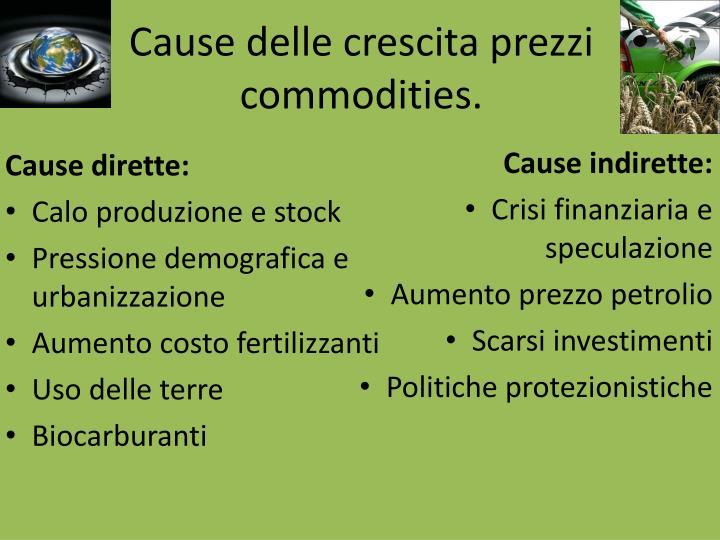 Cause delle crescita prezzi commodities.