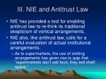 iii nie and antitrust law
