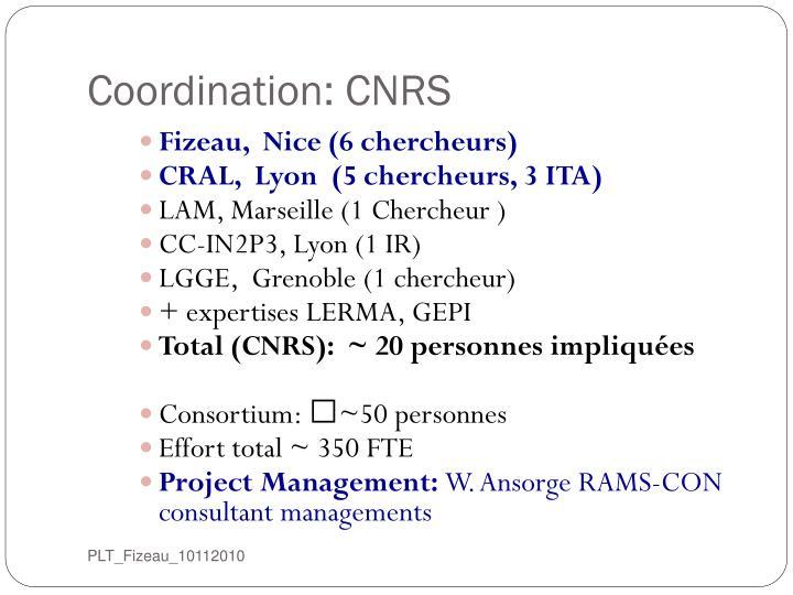 Coordination: CNRS