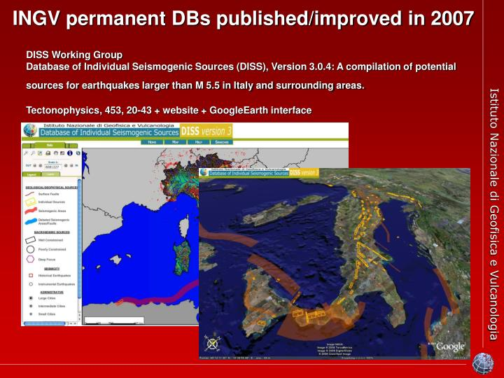 INGV permanent DBs published/improved in 2007