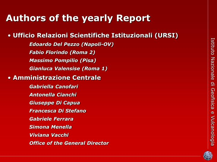 Authors of the yearly Report