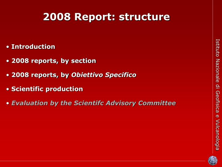 2008 Report: structure