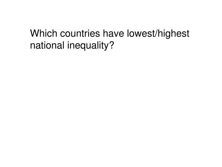 Which countries have lowest/highest national inequality?