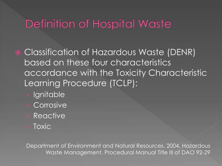 Definition of Hospital Waste