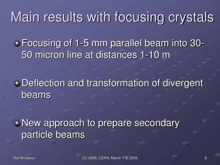 Main results with focusing crystals