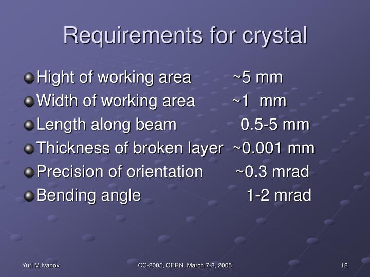 Requirements for crystal