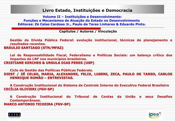 Livro Estado, Instituições e Democracia