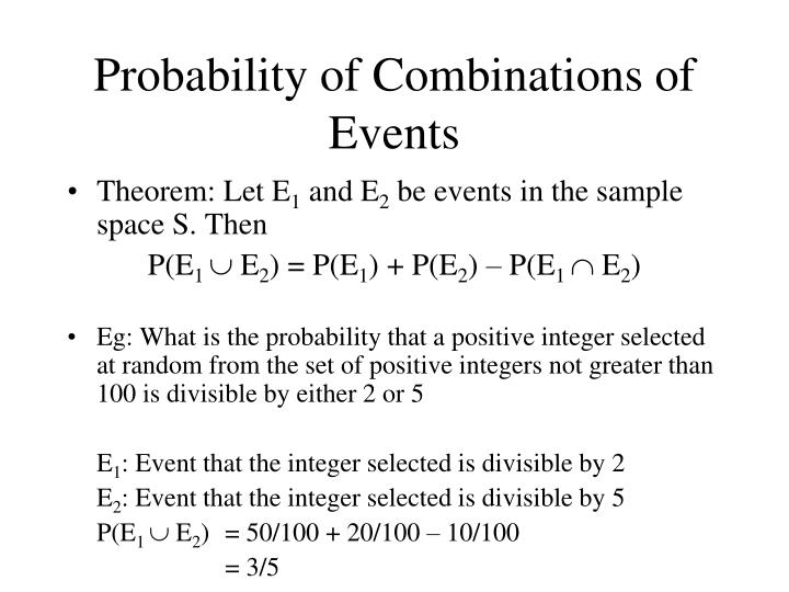 Probability of Combinations of Events