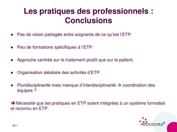 Les pratiques des professionnels : Conclusions