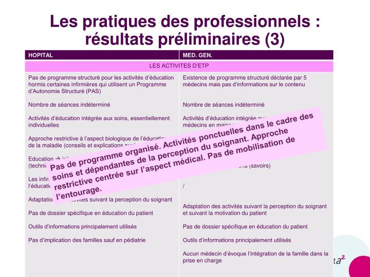 Les pratiques des professionnels :