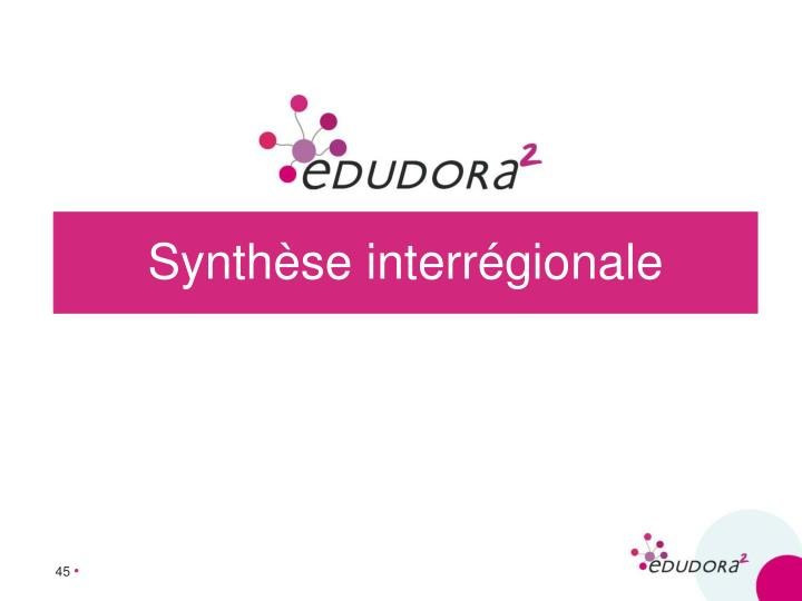 Synthèse interrégionale