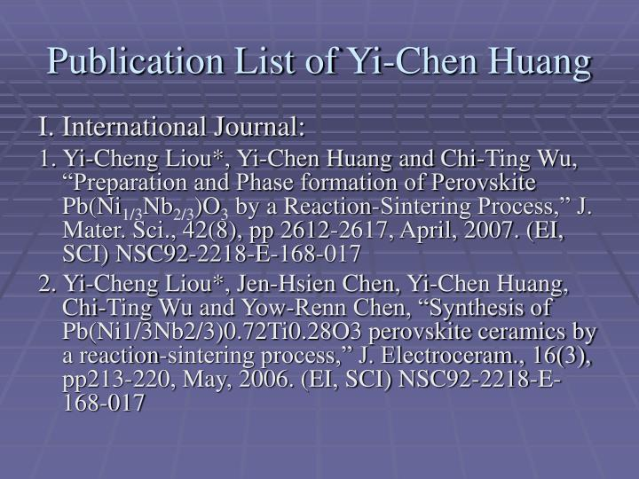 Publication List of Yi-Chen Huang