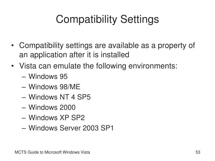 Compatibility Settings