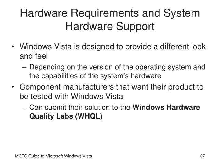 Hardware Requirements and System Hardware Support