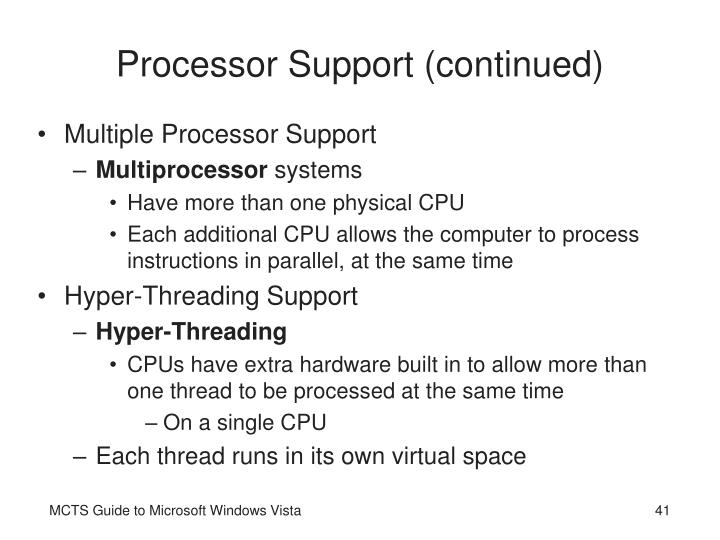 Processor Support (continued)