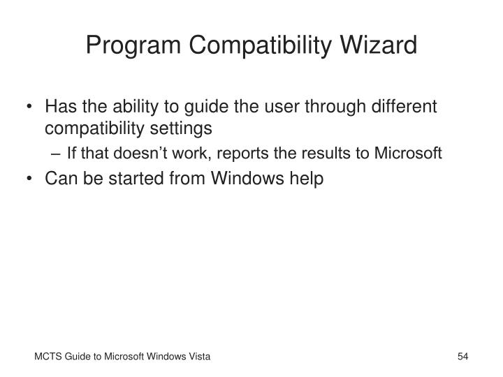 Program Compatibility Wizard
