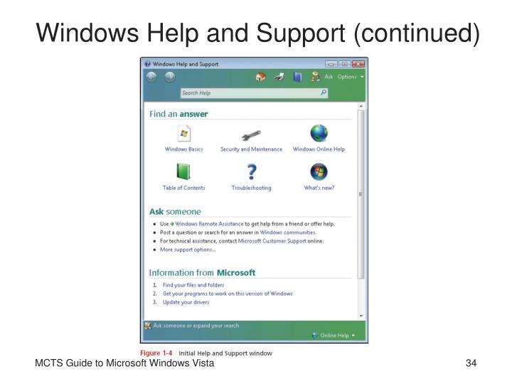 Windows Help and Support (continued)