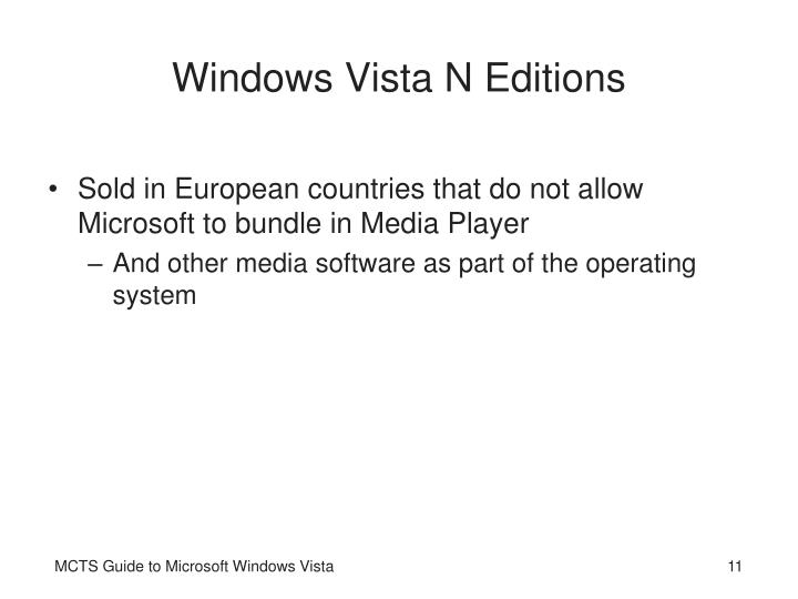 Windows Vista N Editions